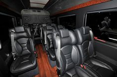 Inside on of Grand Avenue's Mercedes Sprinter Vans www.grandavenueworldwide.com Sprinter Camper, Mercedes Sprinter, Basement Movie Room, Luxury Van, Volkswagen Transporter, Party Bus, Daihatsu, Custom Vans, Transportation Design