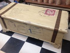 This was an old cedar chest that got transformed into a British inspired trunk for the guest room!