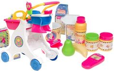 Little mommy shopping cart: Food can, mac & cheese, carrots, cereal, peas, juice, milk,  2 food jars, pink top*, pink bowl, pink spoon, banana*, pear, pink phone, muffin*