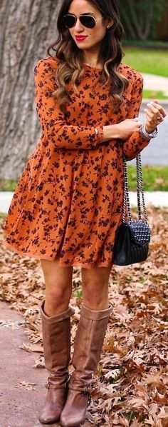 #fall #outfits women's brown and black printed dress