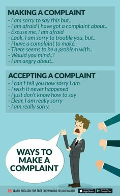 Making a complaint. Accepting a complaint. Improve English Speaking, Learn English Grammar, English Vocabulary Words, English Phrases, English Idioms, English Language Learning, English Words, English Tips, English Study