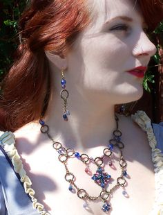 Purple and Blue Medieval Necklace and Earring by astraeadesigns,
