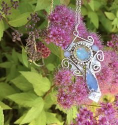 Blue Silver Necklace Throat Chakra Pendant Gypsy Necklace Goddess Necklace Cross Necklace Artisan Necklace OOAK Necklace Spiritual Necklace by PixieStixDesigns on Etsy