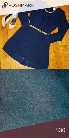 Navy blue dress This dress can easily be styled with a belt and jewelry for a formal look or for the office.   Note: slight tear in middle front of dress.  Second photo shows this.  Its hard to see from few steps away. Easy to distract with belt or necklace! H&M Dresses Long Sleeve