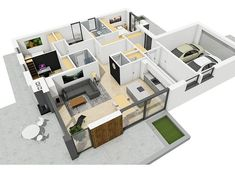 Projekt domu Simon III G2 energo 126,16 m² - koszt budowy - EXTRADOM Beautiful House Plans, Beautiful Homes, Modern Bungalow House, Weekend House, Projects To Try, Shelves, House Design, How To Plan, Home Decor