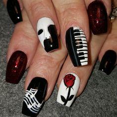 Phantom of the Opera by from the Nail Art Gallery - Diy Nail Designs Crazy Nail Art, Crazy Nails, Cool Nail Art, Love Nails, Fun Nails, Acrylic Nail Art, Acrylic Nail Designs, Nail Art Designs, Crazy Acrylic Nails