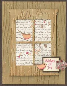 By Polly. Memory Box Grand Madison Window Die. Tim Holtz woodgrain/brick embossing folder.