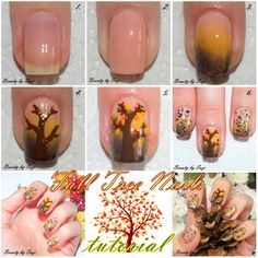 Fall Tree Tutorial #nailart #tutorial