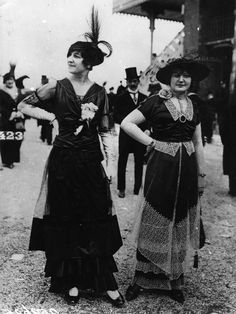 What We Wore 100 Years Ago: Fashion in 1914: Dark Dresses at the Longchamp Racecourse in Paris
