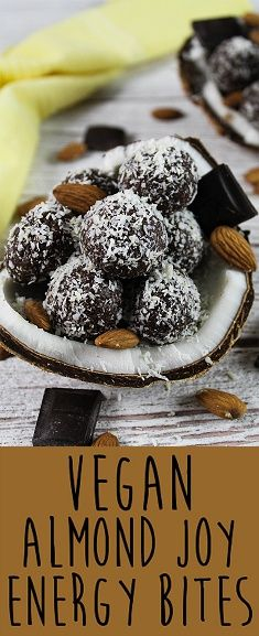 These Vegan Almond Joy Energy Bites are deliciously sweet, nutritious & will keep you away from that vending machine. They take less than 15 minutes to make, too. C'mon over to Vegan Huggs for this yummy recipe. Vegan Dessert Recipes, Dairy Free Recipes, Raw Food Recipes, Sweet Recipes, Snack Recipes, Gluten Free, Vegan Treats, Vegan Snacks, Almond Joy