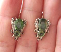 victorian insect jewelry | Victorian Era Ruby Peridot Fly Insect Earrings.