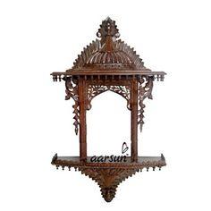 Carved Wood Wall Art, Pooja Mandir, Pooja Room Door Design, Unique Shelves, Temple Design, Pooja Rooms, Main Door, Room Doors, Handmade Wooden
