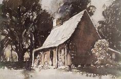 PUMPKIN COTTAGE 1930 Sydney Higgs Art History, Sydney, Pumpkin, Cottage, Painting, Outdoor, Outdoors, Pumpkins, Cottages
