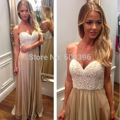 Beads Prom Dresses A-line sleeveless evening dresses for wedding party Sweetheart