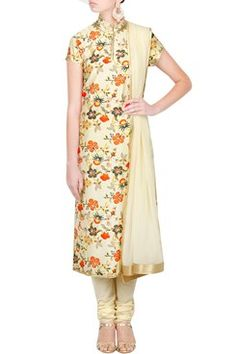 Off white Anarkali with Block Prints By Designer Rohit Bal