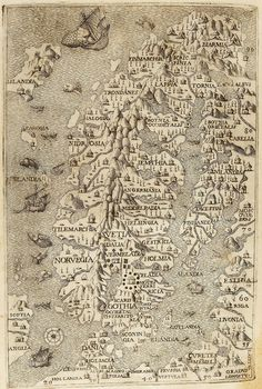 "A map of the ""Norse lands"" from the Italian edition of Olaus Magnus' Carta Marina,"