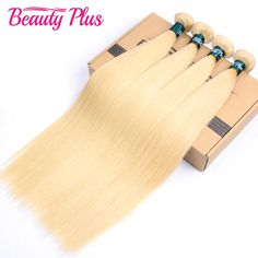 """135.00$  Buy here - http://ait5b.worlditems.win/all/product.php?id=32778871116 - """"613 Blonde Virgin Human Hair Straight 4 Bundles Platinum Blonde Brazilian Human Hair Extensions #613 Color Bleach Blonde 12""""""""-26"""""""
