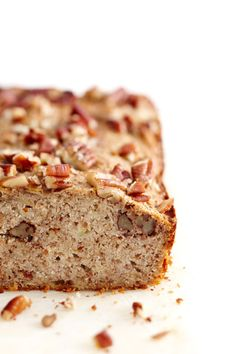 Healthier banana bread (but I'm going to do candied pecans on top)...  Banana & Pecan Bread | Lush Loves
