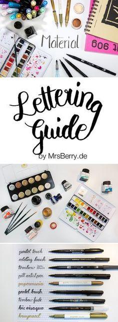 Hand Lettering lernen (Deutsch) mit MrsBerry.de   wertvolle Tipps zu Materialien sowie Buchempfehlungen, eine Übersicht über Brushlettering Stifte und Informationen zum Digitalisieren und Freistellen von Handletterings.