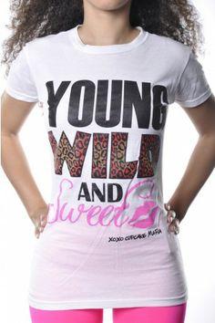 Cupcake Mafia Young, Wild  Sweet Tee White Cupcake Mafia, Get Dressed, T Shirts For Women, Cheetah, Tee Shirt, Women's Tops, How To Wear, Clothes, Tees