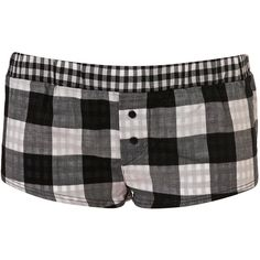 Premium Black Gingham Girl Boxer Short (205 MXN) ❤ liked on Polyvore featuring intimates, sleepwear, pajamas, shorts, bottoms, women, short boxers, black boxer and black pajamas