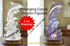 $27.95 & Free Shipping! DOLPHIN FIGURINE CHANGING COLORS 'DOLPHINS ON WAVES OF LIGHT' STATUE  http://stores.ebay.com/Slems-Gift-Store or order directly from me at dslem3@yahoo.com for 20% off anything in the store!