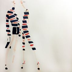Today's Mood: Red, Pink & Blue Stripes -- Jenny M Walton, Markers and Microns