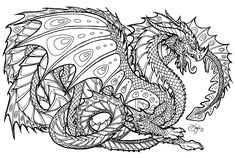 free printable coloring pages for adults advanced dragons - Google Search