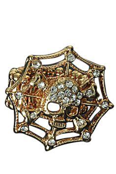 Goudkleurige, elastische ring met spinnenweb en schedeltje