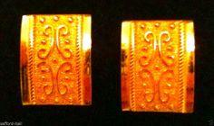 14k Gold Earrings Greek Scroll Design Omega Back Clasp Shield Solid Gold Lovely #AE #Huggie. Bella