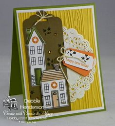 I have a FREE PDF tutorial of 4 cards on my blog today for PREVIEW WEEK at Create with Connie & Mary using the Holiday Home stamp set & Homemade Holiday Framelits Dies. Debbie Henderson, Debbie's Designs.