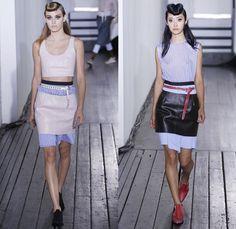 Hache Italy 2014 Spring Summer Womens Runway Collection - New York Fashion Week - Manuela Arcari - Denim Jeans Dress Skirt Wide Leg Trousers...