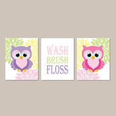 Owl Bathroom Decor Wash Brush Floss Bathroom by LovelyFaceDesigns - love this for the girls bathroom