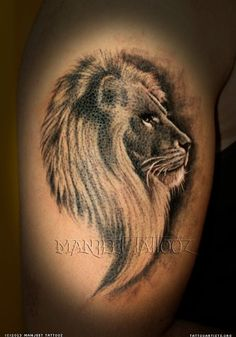 Lion Side Face Tattoo
