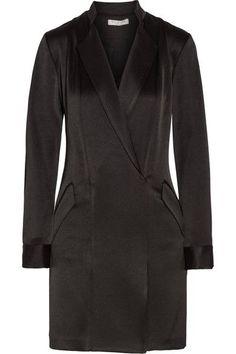 Halston Heritage - Wrap-effect Satin-crepe Mini Dress - Black