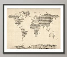 Map of the World Map from Old Sheet Music, Art Print (895) by artPause on Etsy https://www.etsy.com/listing/91109276/map-of-the-world-map-from-old-sheet