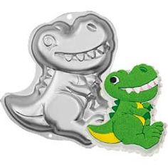 This aluminum Wilton cake pan is shaped like a dinosaur, making it the perfect addition to any dinosaur theme party. Use it to make a dinosaur cake with just one package of cake mix or your favorite cake recipe.