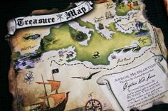 PIRATE Birthday Party Invitation Treasure Map by lanodesignstudio, $70.00