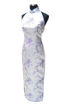 Periwing Lilac Satin Backless Plum Blossom Halter Top Evening Gown Chinese Dress Qipao - iDreamMart.com