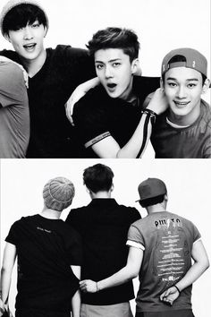 Loove. Lay Sehun Chen... love Chen grabbing Lay's shirt