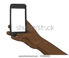 Vector illustration of black afro hand holding smartphone with mockup blank screen, Illustration in sketch style isolated on white background