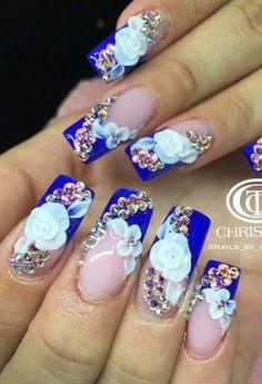 White Nails With Blue Rhinestones Ideas Rhinestone Nails, Bling Nails, 3d Nails, Stiletto Nails, Beautiful Nail Designs, Beautiful Nail Art, Fabulous Nails, Gorgeous Nails, Stylish Nails