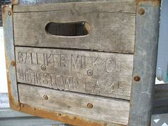 Galliker Milk Co Old Wood Milk Bottle Crate Box Johnstown Pa Cambria County