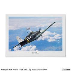"""Aviation Art Poster """"F6F Hellcat"""" ポスター"""