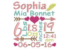 Size Birth Announcement Template Embroidery