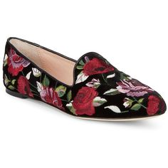Kate Spade New York Women's Swinton Velvet Floral Loafers (343 255 LBP) ❤ liked on Polyvore featuring shoes, loafers, black, slip-on loafers, embroidered shoes, slip on loafers, embroidered loafers and slip on shoes