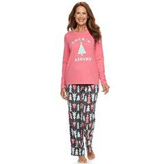 Jammies For Your Families Women's Christmas Tree Pajama Set  *** The kids pjs look different. :-(