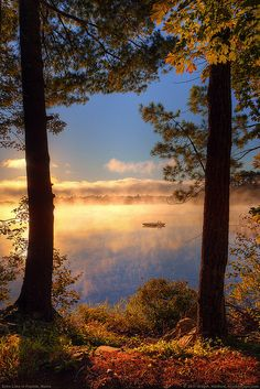 The sunrise, lake, and morning mist came together nicely in this photo taken on Echo Lake in Fayette, Maine, part of Kennebec County in the southwestern part of the State.