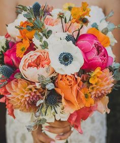 These bright pink and orange flowers would make for such a beautiful summer wedding or bohemian wedding bouquet. Marie's Wedding, Floral Wedding, Wedding Colors, Dream Wedding, Summer Wedding Flowers, Quirky Wedding, Wedding Ideas, Wedding Flower Arrangements, Floral Arrangements
