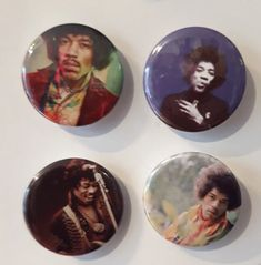 Set of 4 Button Badges. Size: 25 cm (1 inch). Button Badge, Jimi Hendrix, Badges, This Is Us, Buttons, Badge, Knots, Lapel Pins, Plugs